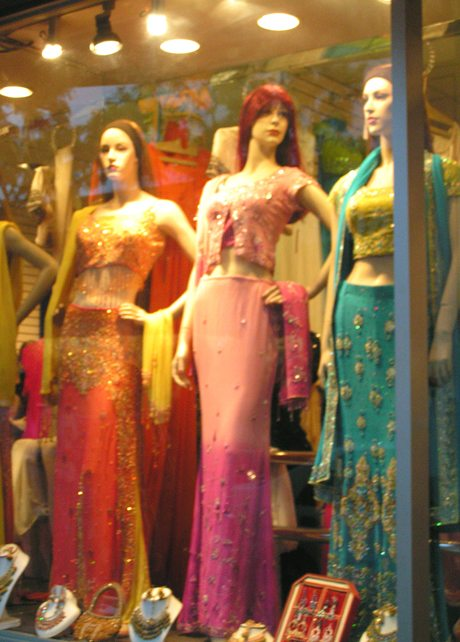 Indian outfits in a sari shop in Little India in Jackson Heights on