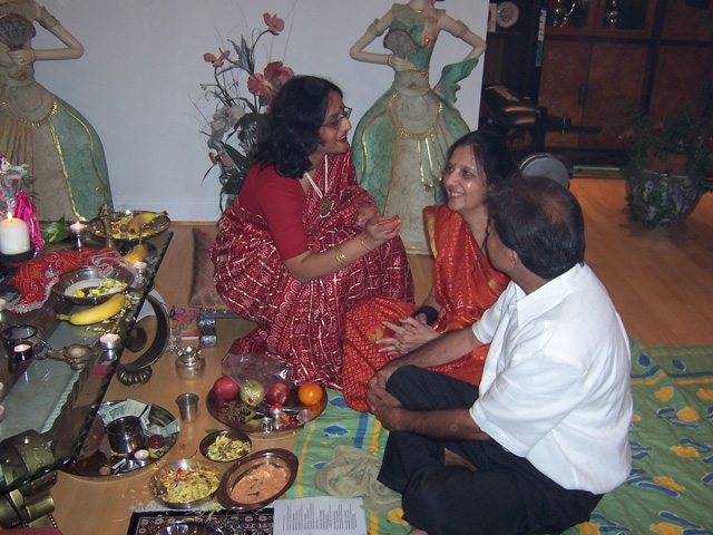 Anju Bhargava, Hindu woman priest,  before the commencement of a puja