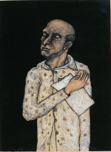 Man with Piece of Paper, 1986 by Jogen Chowdhury