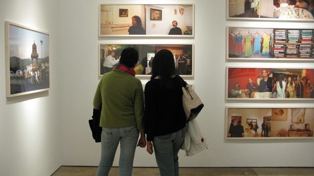 Visitors at the Bose Pacia Gallery in New York
