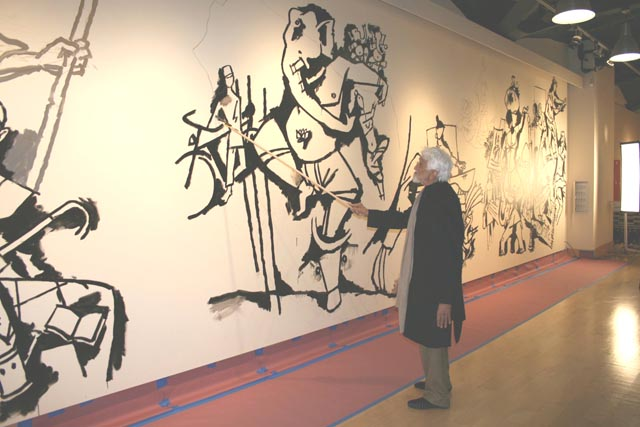 Husain working on his 45 foot canvas at Tamarind Arts Council