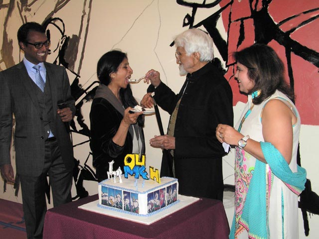 MF Husain with his daughter Raeesa and the Charugundlas