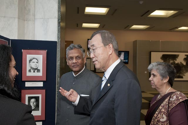 UN Secretary General Ban Ki-Moon with Placido D'Souza