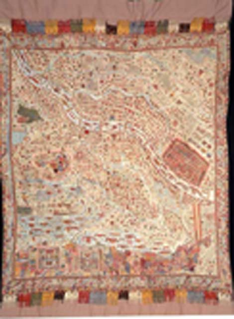 Embroidered shawl with the map of Kashmir