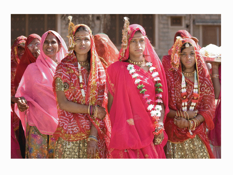 India Exposed by Clive Limpkin. The Subcontinent A-Z. Three sisters, brides-to-be, near Deogarh, Rajasthan