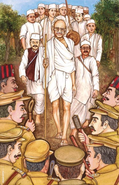 Mahatma Gandhi's Salt March. Mahatma Gandhi, with his simple khadi loincloth