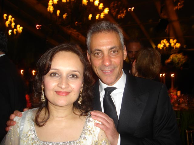 Bhairavi Desai with White House Chief of Staff Rahm Emanuel