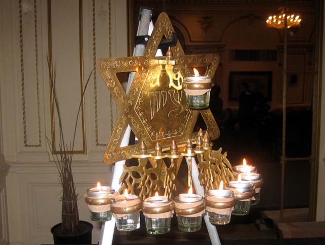 Lighting the lamps at an Indian Hanukkah celebration