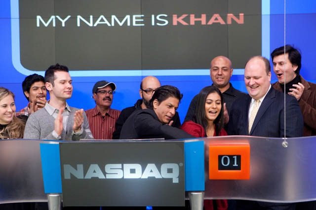 Shah Rukh Khan and kajol ring the opening bell at NASDAQ stock excahnge