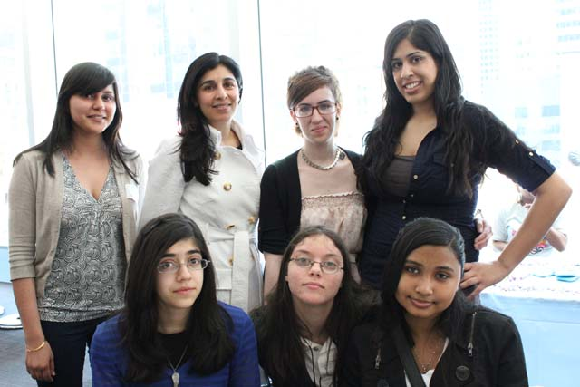 Arsh Ghuman (SAYA), Simi Ahuja and Aliya Amerishi with Take Your Daughter to Work participants. (photo: Divrina Dhingra)