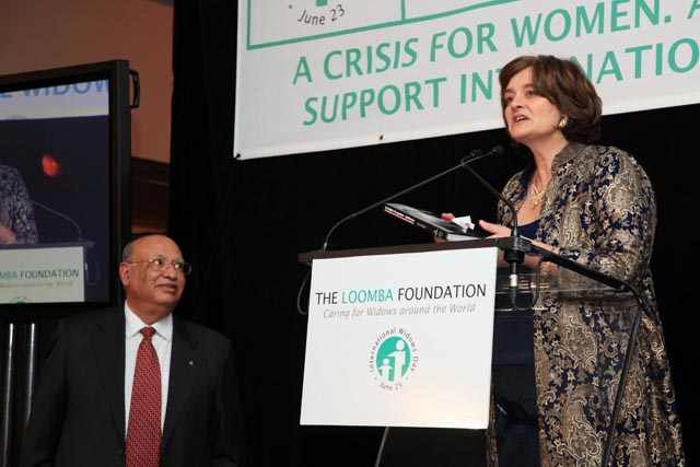 Raj Loomba with Cherie Blair at the Loomba Foundation dinner at United Nations