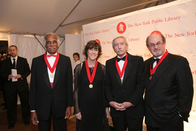Library Lions Edward Albee, Ashley Bryan, Nora Ephron and Salman Rushdie - Photo - Mary Hilliard