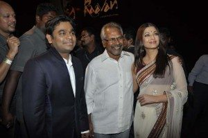 AR Rahman, Mani Ratnam and Aishwarya Rai Bachchan at the music launch of Raavan