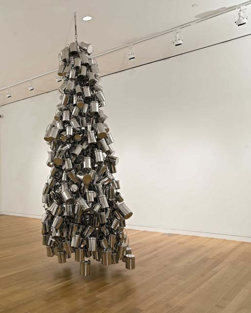 OK Mili by Subodh Gupta - Stainless steel tiffin boxes, armature at Sotheby's sale of contemporary Indian art during Asian Art Week
