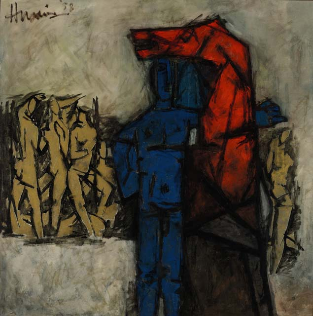 Cinq Sens by M.F.Husain who is one of the iconic modern artists from India. It was auctioned during Asian Art Week at Sotheby's.