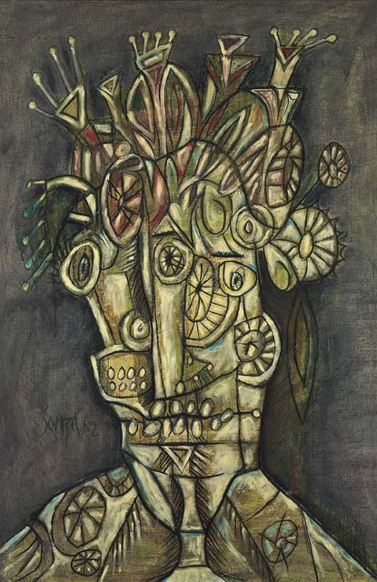 Large Head by F.N.Souza at Christie's sale of contemporary Indian art during Asian Art Week