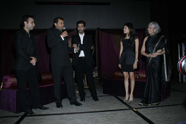 L.to R. Manish Israni, Suketu Mehta, Karan Johar & (r)Aroon Shivdasani at the Evening in Mumbai Gala