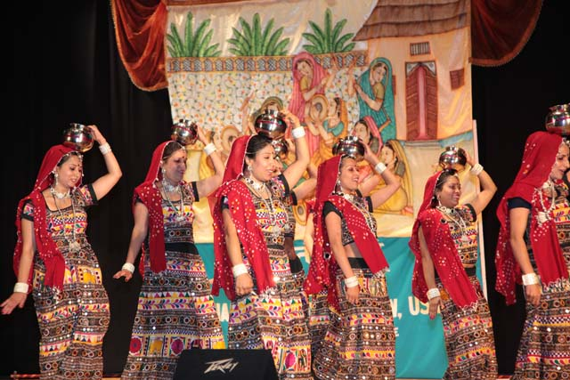 Dancers from Nartan Rang Dance Academy performing Garba