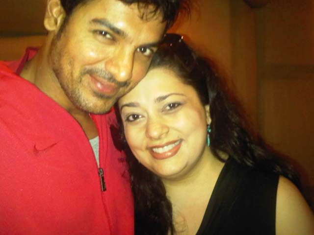 John Abraham with Isheeta Ganguly, recording for 'Damaru'