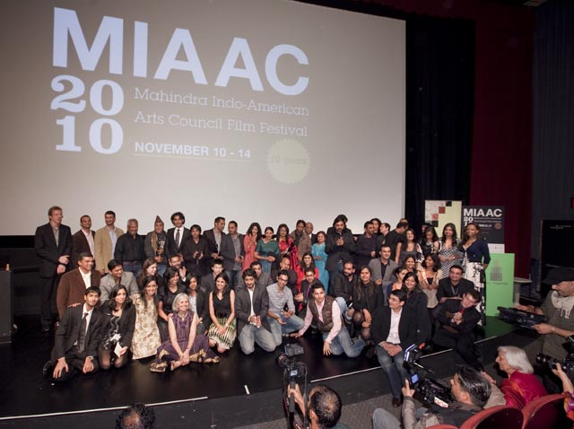 Bollywood and art film directors, actors and crew gather with film curators and volunteers and MIAAC director Aroon Shivdasani at the conclusion of the MIAAC film festival