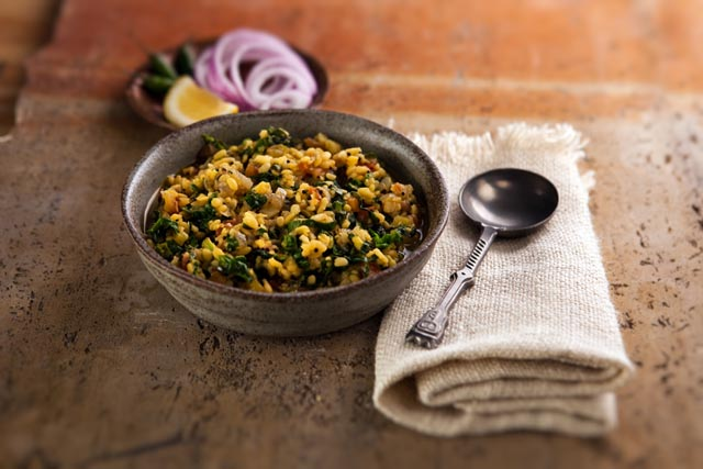 My Indian Kitchen - Yellow Mung Beans with spinach by Hari Nayak