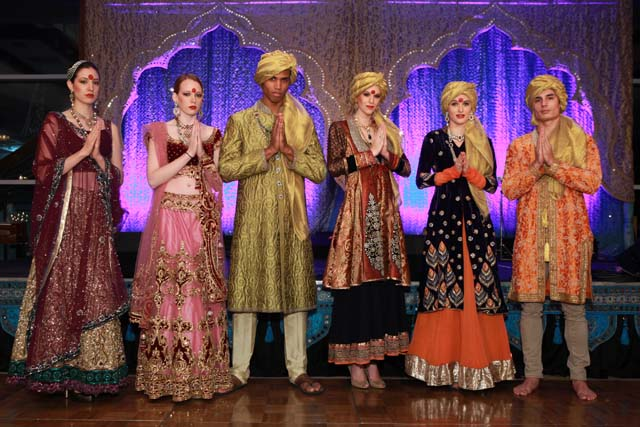 Live mannequins in ornate Indian couture greeted guests at Royal India Gala organized by Children's Hope India