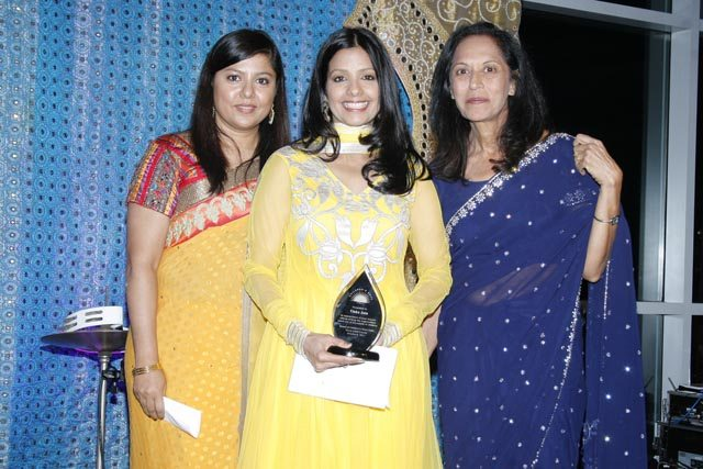 Tinku Jain who hosted the evening seen with Sagorica Rudra and Maya Rajani Royal India Gala organized by Children's Hope India