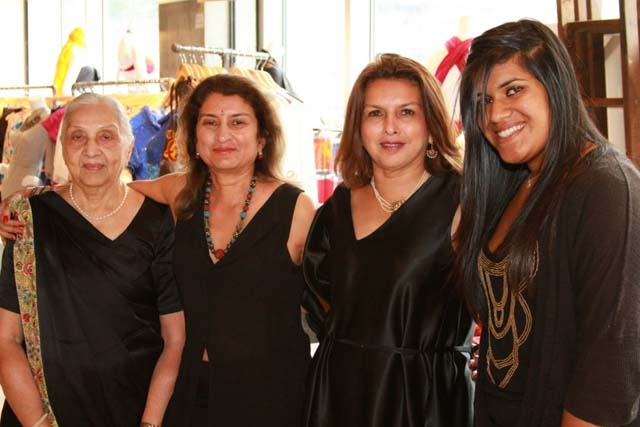 'Miss Timmins' School for Girls' by Nayana Currimbhoy is a murder mystery story set in Panchgani in India. L to R: Ladies in black: Nayana Currimbhoy with her mother, Sarla Sanghvi, sister Amla Sanghvi and daughter, Sana Currimbhoy