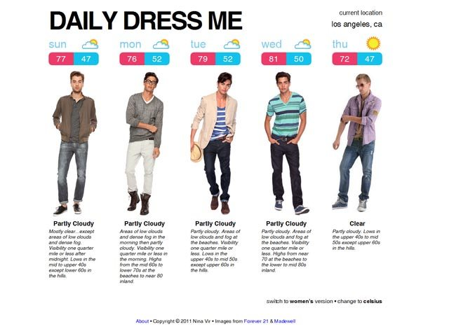 Daily Dress Me is a site which determines style and fashion according to the weather in your location