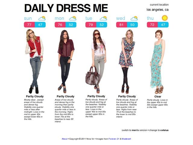 Daily Dress Me is a site to help you dress according to the weather in your area