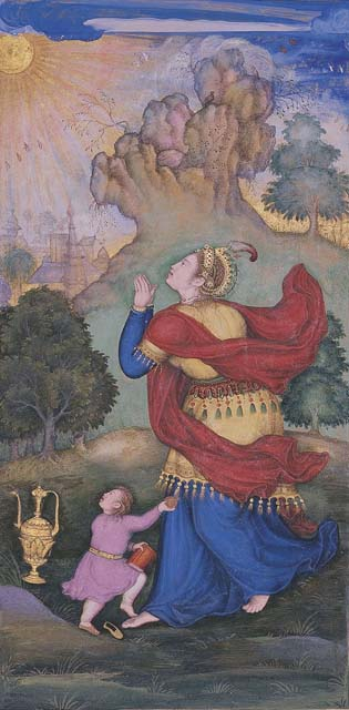 Attributed to Basawan - Woman Worshipping the Sun, Page from a Jahangirnama Album - Wonder of the Age - Master Painters of India at the Metropolitan Museum of Art