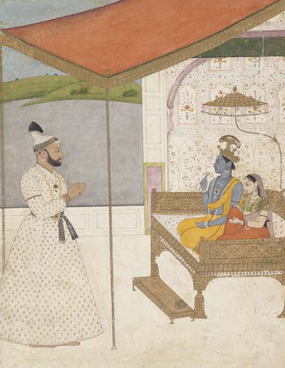 Attributed to Nainsukh - Raja Balwant Singh of Jasrota Worships Krishna and Radha. Wonder of the Age - Master painters of India at the Metropolitan Museum of Art