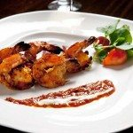 Angoori Jhinga (shrimp marinated in ajwain, ginger, garlic, green chilies grilled in tandoor and served with grape relish) Benares Restaurant, a new Indian eatery with Peter Beck as chef