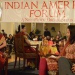 At a celebration of Indian women at Indian American Forum, Satya Pradeep is interviewed by Siddhi and Anuj