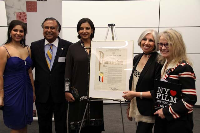 Actress and activist Shabana Azmi being honored with a proclamation from the City of New York