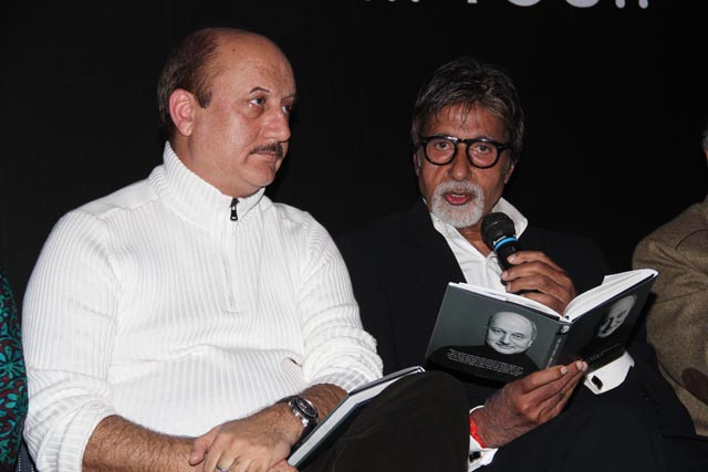 Anupam Kher & Amitabh Bachchan at the book launch of 'The best thing about you is you'