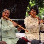 Pandit Hari Prasad Chaurasia, legendary Indian musician, plays the bansuri with his nephew Rakesh Chaurasia