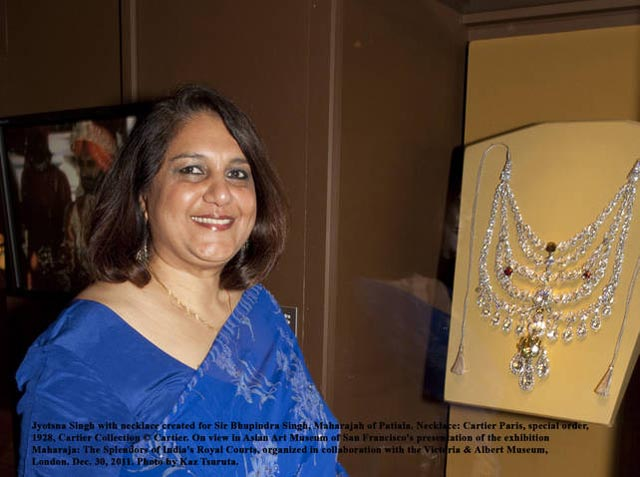 Jyotsna Singh with the Patiala Necklace of her grandfather on display at the Asian Art Museum in San Francisco