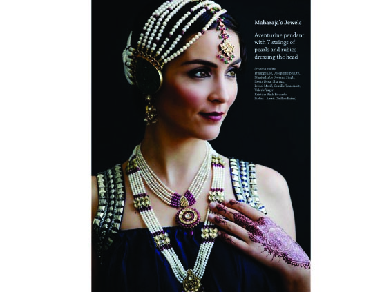 Jyotsna Singh, grand-daughter of the Maharaja of Patiala, has Manjusha, a line of jewelry inspired by the family jewels.Photo of model wearing the collection.