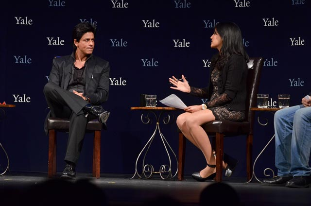 Shah Rukh Khan, also known as Bollywood Badshah,  with Yale alumna Sarika Arya