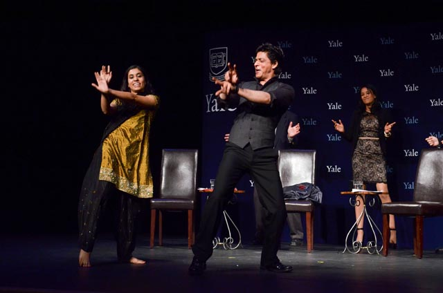 SRK, who was honored with the Chubb Fellowship at Yale University, dances Chamak Challo with a Yale student