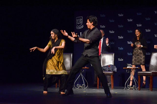 Shah Rukh Khan, Bollywood superstar, with Yale student Natalia Khosla