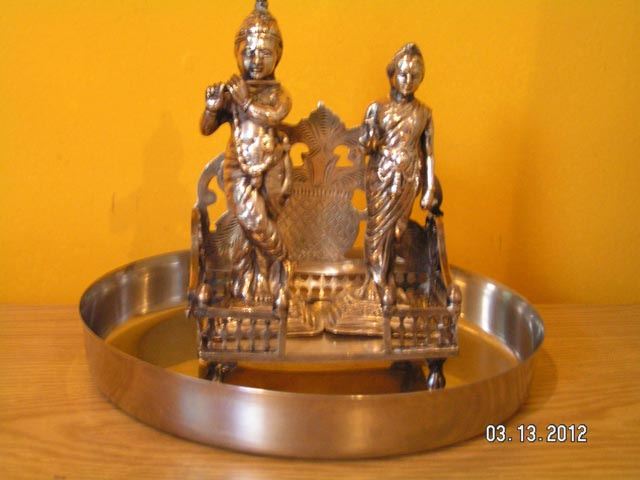 These silver icons were brought to America by Lavina Melwani, immigrant from India