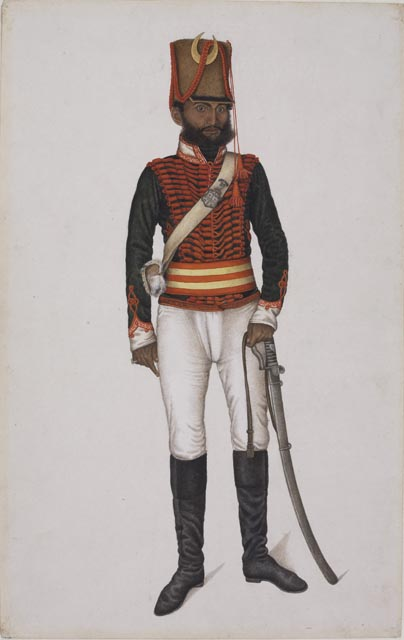 By a master artist working for William Fraser Kala in uniform of Skinner's Horse From the Fraser Album Delhi 1815–16 Watercolor on paper H. 15 5⁄8 × W. 10 in. (39.7 × 25.4 cm) The David Collection, Copenhagen, no. 59/2007