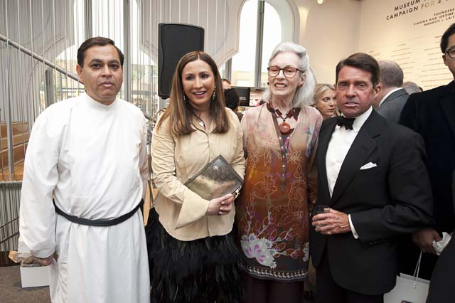 Meera Gandhi, founder of Giving Back Foundation, had a book launch at the Museum of Art & Design in New York. L to R: Reverend Timothy Shaw, Meera Gandhi, Barbara Tober and Chris Meigher.