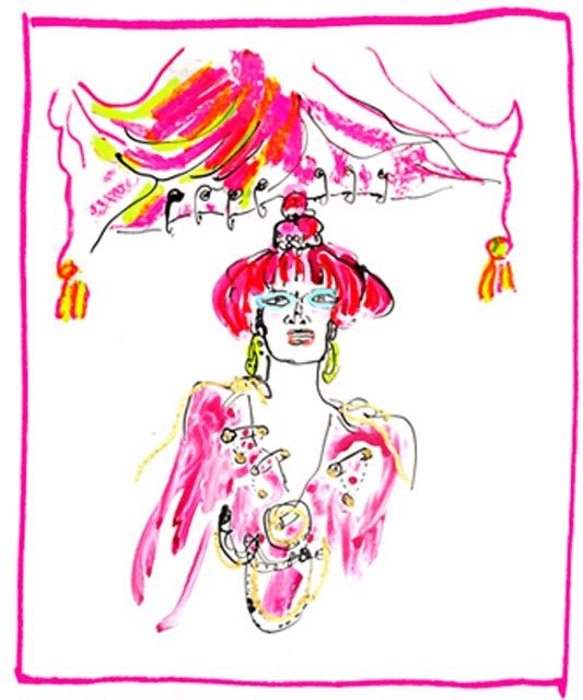 Zandra Rhodes. Illustration by Gladys Perint Palmer