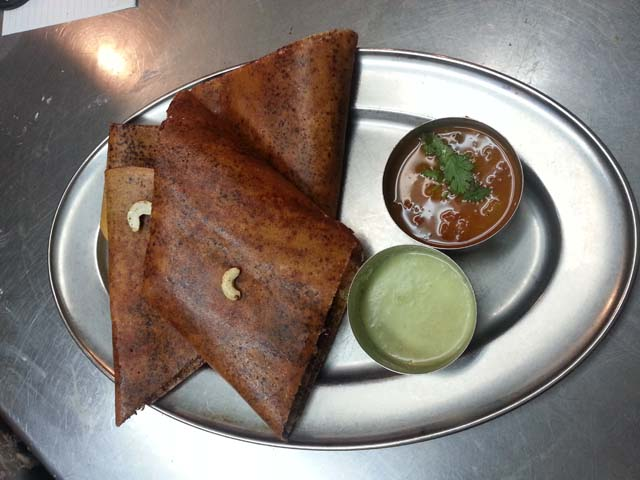 The traditional South Indian dosa is being offered with a filling of chocolate
