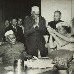 Dr. Helen Keller, who was calling on President Dr. Rajendra Prasad at the Rashtrapati Bhawan, being greeted by, Prime Minister Nehru who had come to see her Homai Vyarawalla India; 1955 Alkazi Collection of Photography