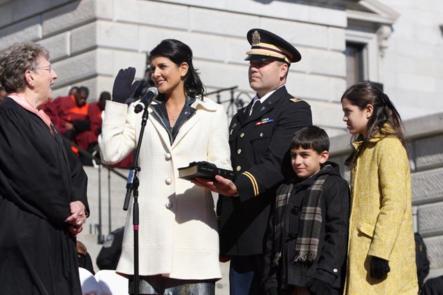 Nikki Haley takes the oath of office, becoming South Carolina's 90th governor and the first woman to run the state. South Carolina Chief Justice Jean Toal administered the oath