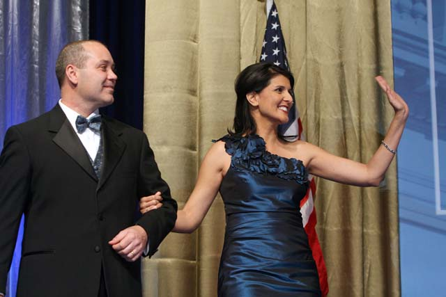South Carolina Gov. Nikki Haley and First Gentleman Michael Haley make their entrance on stage at Wednesday evening's Inaugural Gala at the Colonial Life Arena. Photos by Renee Ittner-McManus/rimphotography.com